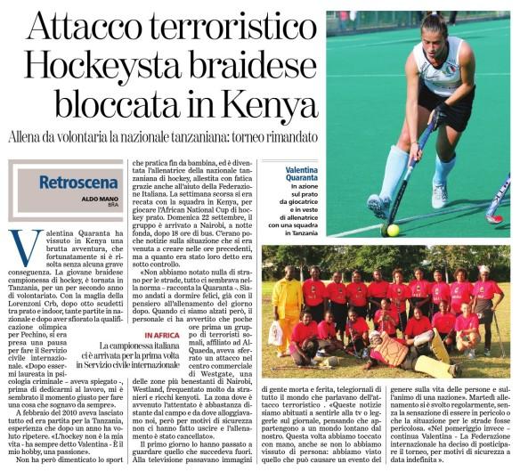 Attacco terroristico, hockeysta braidese bloccata in kenya