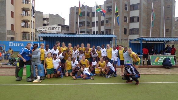After the match: together Tanzania & South Africa